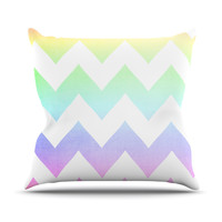 "Catherine McDonald ""Water Color"" Chevron Outdoor Throw Pillow"