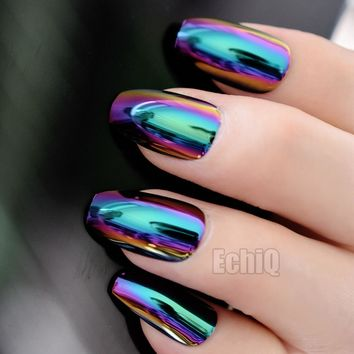 24Pcs Holographic Fake Nails Blue Purple Coffin False Nails Fashion Nail Design Full Cover DIY Nail Art Manicure Tools Z905