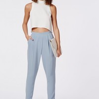 Missguided - Louisa Pleat Front Tapered Leg Trousers Powder Blue
