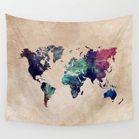 Cold World Map Wall Tapestry by Jbjart | Society6