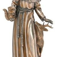Saint Francis Blessing Deer and Birds Bronze Finish Statue 11.75H