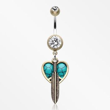 Vintage Boho Peace Heart with Feather Belly Button Ring