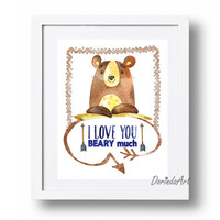 I love you beary much print Bear printable Navy blue brown Boy nursery quote Watercolor bear Woodland animal wall art 5x7 8x10 11x14 16x20