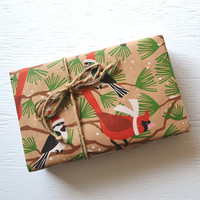 10 feet SNOW BIRDS wrapping paper, 2 x 10 feet, Christmas wrapping paper, holiday packaging