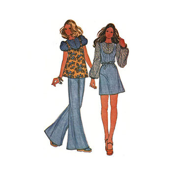 1970's McCall's 3683 Woman's Dress or Jeans Top Size 6 || Bust 30.5in /77cm || Vintage Retro Sewing Pattern