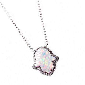 White Opal Hamsa Necklace