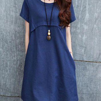 Streetstyle  Casual Round Neck Plain Cotton/Linen Shift Dress