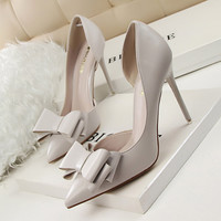 Women's Sweet Bow-Knot High-Heeled Thin Pink Hollow Pointed Toe Elegant Shoes