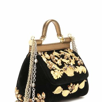 Miss Sicily Mini embellished velvet and leather handbag