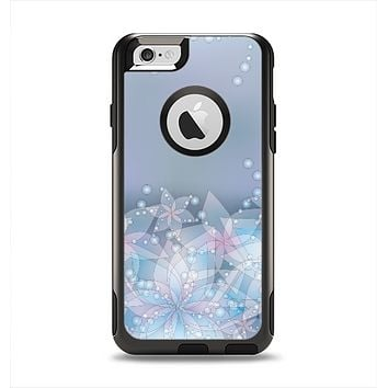The Translucent Glowing Blue Flowers Apple iPhone 6 Otterbox Commuter Case Skin Set