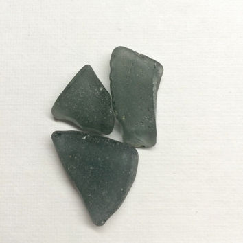 Three Grey Sea Glass Supply Pieces, found on the beaches,  Galveston County Texas, Grey Seaglass, sea glass supplies, beach craft supply