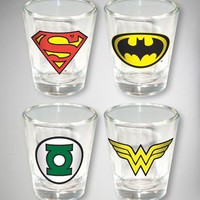 DC Comic 2 oz. Shot Glass 4-Pack