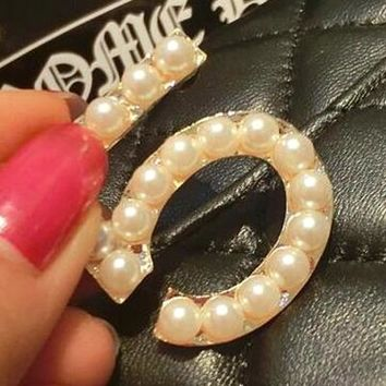 8DESS Chanel Women Fashion Pearl Number 5 Brooch Jewelry