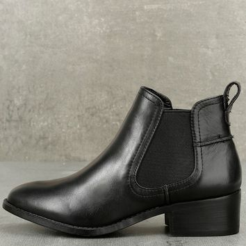 Dicey Black Leather Ankle Booties