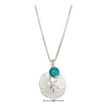 "Sterling Silver Necklace:  18"" Sand Dollar Necklace With Blue Riverstone Bead"
