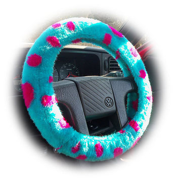 Dino turquoise and purple Spot faux fur furry fluffy fuzzy car Steering wheel cover