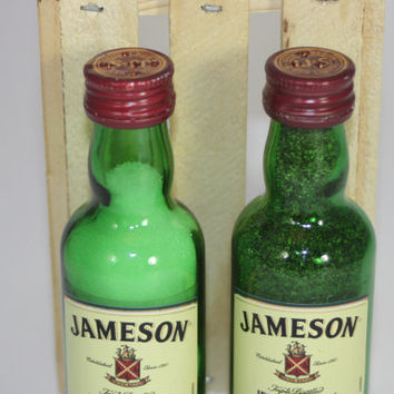Glass Jameson Salt & Pepper Shakers, Upcycled Liquor Bottles