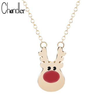 Gold Silver Plated Rudolph Reindeer Pendant Necklace Long Chain Alloy Animal Collars Lovely Fashion Jewelry For Womens Girls