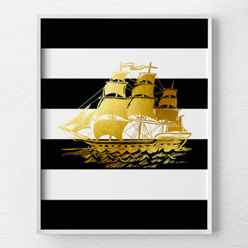 Pirate Ship Art, Nautical Decor, Pirate Ship Art, Gold Foil Art, Nautical Nursery, Modern Nautical Art, Black and White Stripes, 0340