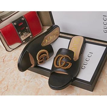 GUCCI tide brand female models fashion non-slip wear flat bottom one word drag fashion beach sandals Black