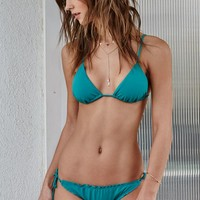 LA Hearts Solid Triangle Bikini Top - Womens Swimwear - Green