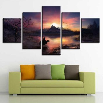 Canvas Paintings Home Decor Framework HD Prints 5 Pieces Witcher Horse Flying Birds Pictures Game Sunset Poster Modular Wall Art