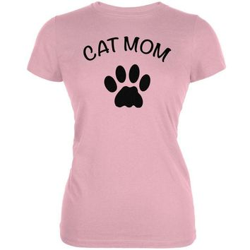 DCCKJY1 Mother's Day - Cat Mom Pink Juniors Soft T-Shirt