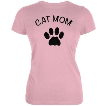 LMFCY8 Mother's Day - Cat Mom Pink Juniors Soft T-Shirt
