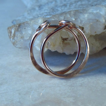 Small Hoop Earrings Solid 14k Rose Gold Hammered