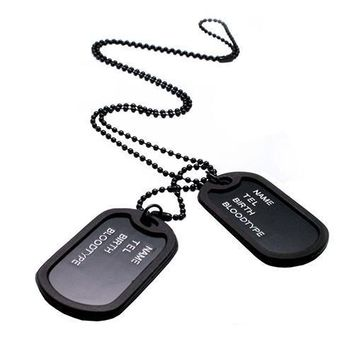 Bluelans Military Army Style Black Dog Tags Chain Mens Pendant Necklace
