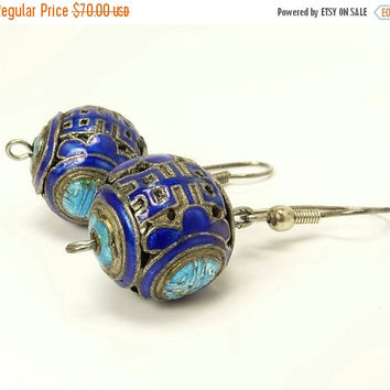 Antique Chinese Sterling Silver & Enamel Earrings