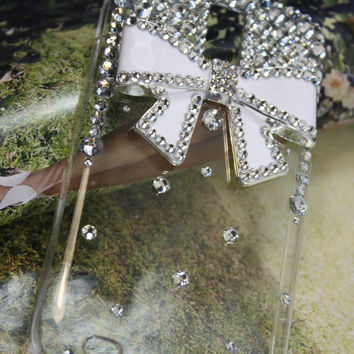 Handmade Charms Bowknots Rhinestone Bling Phone Case For T-mobile Samsung Galaxy S 2 II S2 T989