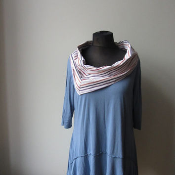 Striped Cowl Neck Tunic, Upcycled Blue Tshirt, Repurposed Mens Shirt, Lagenlook Shirt, Layering Tops, Sustainable Fashion