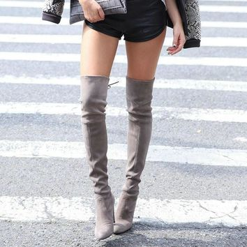 Fashion Online Womens Stretch Slim Suede Over The Knee Boots Thigh High Boots Sexy Fashion High Heel Boot Plus Size Shoes Woman 2016 Black Grey