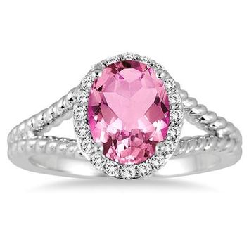 2 Carat Pink Topaz and Diamond Ring in 10K White Gold