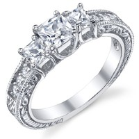 "0.50 Carat Princess Cut Cubic Zirconia CZ "" Past, Present, Future"" Sterling Silver Wedding Engagement Ring"