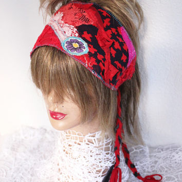 Red Boho Head, Red Headband, Hippie Head, Wear Red Festival, Red Dread Band, Dread Wrap Women's Christmas gift, Intergalactic Clothing