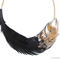 Feather Necklace- Leather Feather Jewelry -Black Dipped in Gold