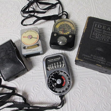 3 Vintage PHOTO ELECTRIC Light Exposure Meters Instant Collection -  Steampunk Assemblage, Repurposing, Altered Art, Mixed Media Supply