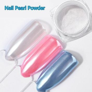 2G/Box DIY Diamond Mermaid Pearl Mermaid Matte White Nail Art Glitter Chrome Powder Dust For UV Gel