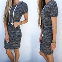 New Women Grey Patchwork Pockets Short Sleeve Sports Mini Dress