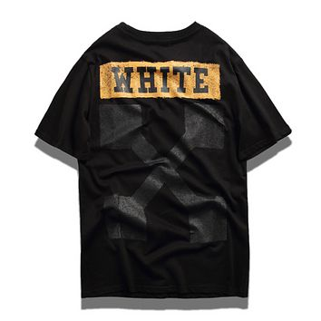 Off White New Fashion Letter Arrow Print Women Men Top T-Shirt Black