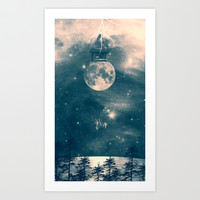 One Day I Fell from My Moon Cottage... Art Print by Paula Belle Flores