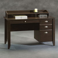 Contemporary Four-Drawer Writing Desk Stylish Home Office Furniture Brown Finish