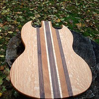 Handmade Wood Rockin Guitar Cutting Board - SG Style - Black Walnut & Quartersawn Oak