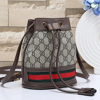 GUCCI Women Fashion Leather Bucket Bag Crossbody Shoulder Bag