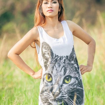 Siberian Cat Tank Top - Women t-shirt tank top Tunic Screenprinted Unisex Shirt Vest Women Sleeveless Singlet White T-Shirt Size M L