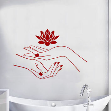 Beauty Salon Wall Decal Girl Hands Vinyl Sticker Lotus Decal Manicure Art Murals Interior Design Bathroom Decor Girls Room Decals M706