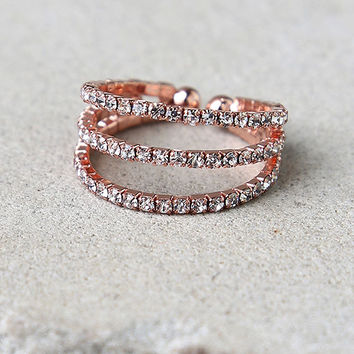 Flair to Spare Rose Gold Rhinestone Ring