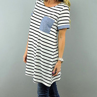 Coco and Main Chambray Stripe Tunic - Women | zulily